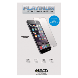 "Platinum Tempered Glass Screen Protector for use with iPhone 6+, 6S+, 7+ and 8+ (5.5"") - (Retail Packaging)"