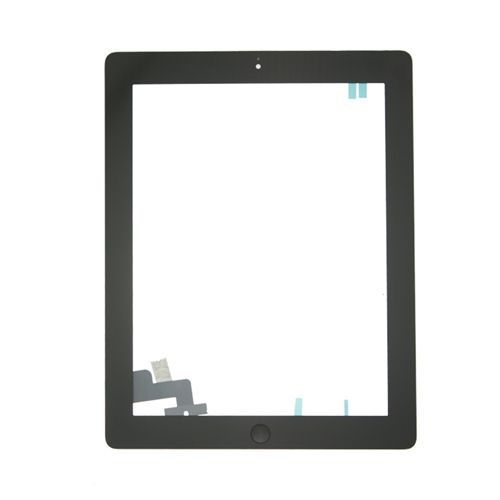 Glass and Digitizer Full Assembly with Home Button and Adhesive, Black, for use with iPad 2