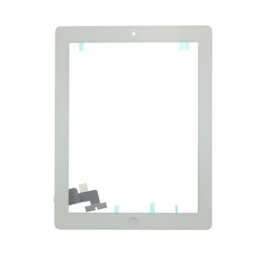 Glass and Digitizer Full Assembly with Home Button and Adhesive, White, for use with iPad 2
