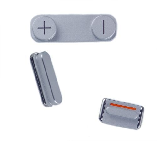 Volume, Mute, and Power Buttons for use with iPhone 5, 3 piece set, White