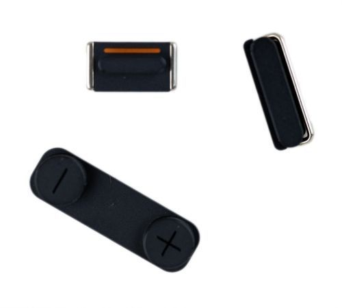 Volume, Mute, and Power Buttons for use with iPhone 5, 3 piece set, Black