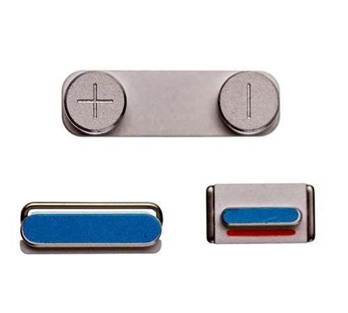 Power, Mute Switch and Volume Buttons for use with the iPhone 5S, Silver