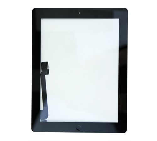 Glass and Digitizer Full Assembly with Home Button and Adhesive, Black, for use with iPad 3
