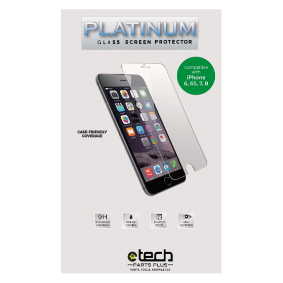 Platinum Glass Screen Protector for iPhone 6,6s,7,8, SE (2020) (Retail Packaging)