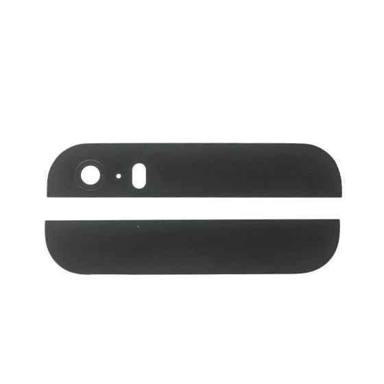 Black Glass Inserts for use with iPhone 5S Back Housing with Camera and Flash Lens
