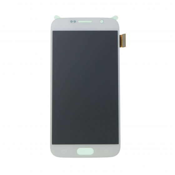 LCD & Digitizer Assembly for use with Samsung Galaxy S6 G920 White (No home button & flex)
