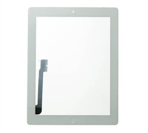iBic Glass and Digitizer Full Assembly with Home Button Flex Cable Installed, White, for use with iPad 4