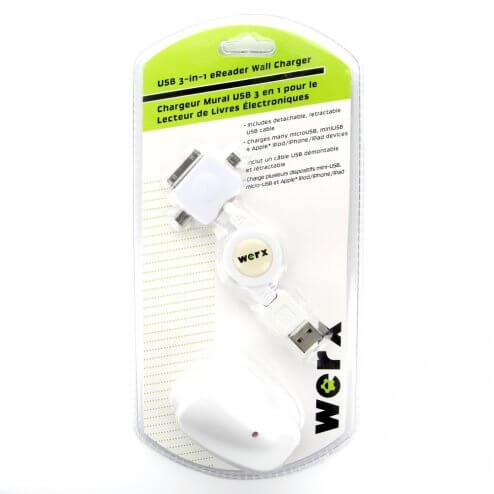 USB 3-in-1 eReader Wall Charger (Werx)