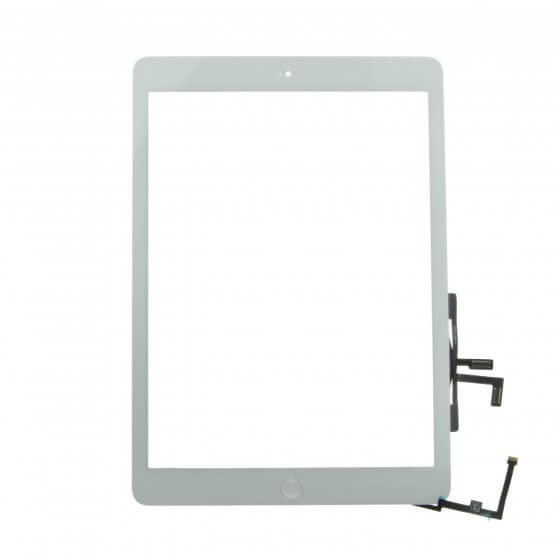 Glass and Digitizer Full Assembly with Home Button Flex Cable Installed, White, for use with iPad Air