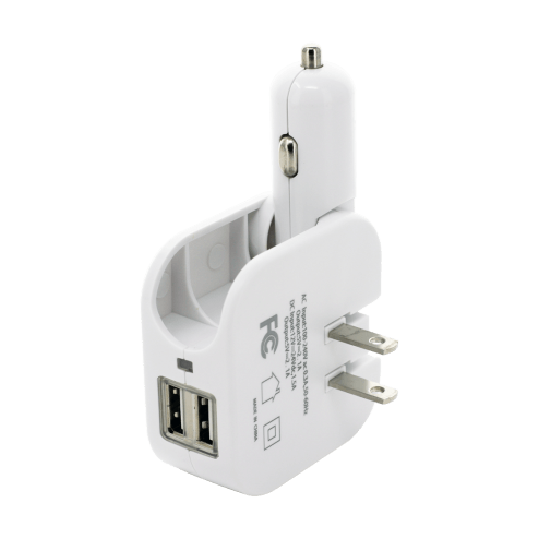 2 in 1 Dual USB Power Adapter 5V-2A (White)