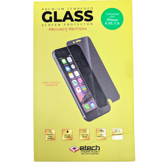 Premium Privacy Tempered Glass Protector for use with iPhone 6/6s/7/8 (Retail Packaging)