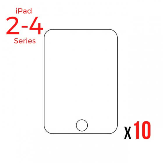 Bulk Tempered Glass Screen Protector for use with iPad 2/3/4 (Pack of 10)
