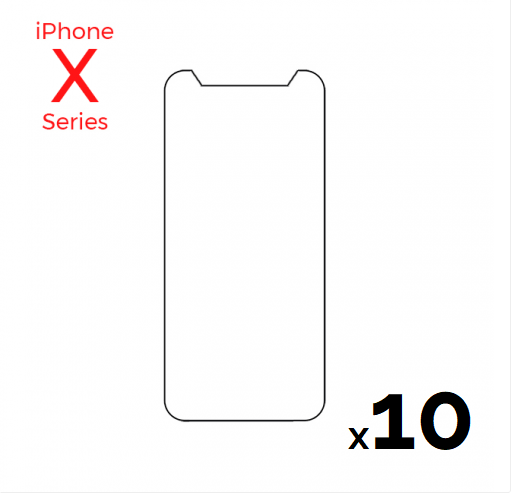 Bulk pack of 10 Tempered Glass Screens for use with iPhone X/Xs