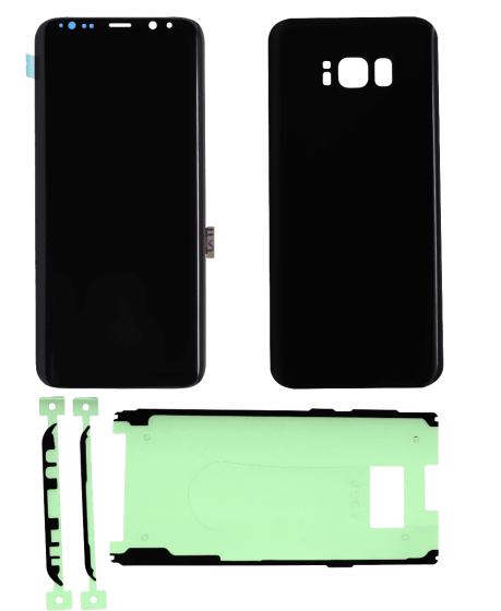 LCD Digitizer w/ Front Cover Adhesive & Back Cover for use with Samsung Galaxy S8 (Black)