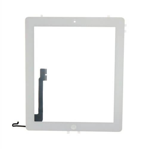 Glass and Digitizer Full Assembly with Home Button and Adhesive, White, for use with iPad 4