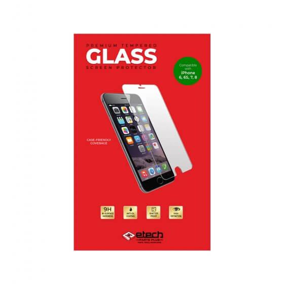 """Premium Tempered Glass Screen Protector for use with iPhone 6, 6S, 7 and 8 (4.7"""") - (eTech Packaging)"""