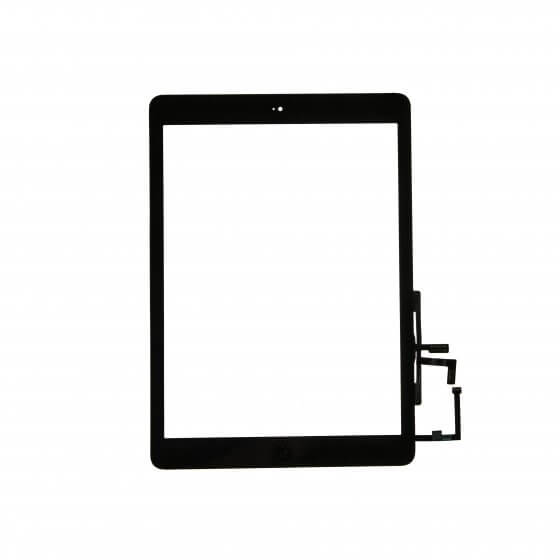 Glass and Digitizer Full Assembly with Home Button Flex Cable Installed, Black, for use with iPad Air
