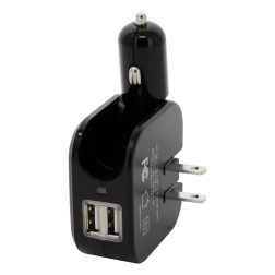 2 in 1 Dual USB Power Adapter 5V-2A (Black)