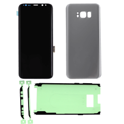 LCD Digitizer w/Front Cover Adhesive & Back Cover(Silver) for use with Samsung Galaxy S8 Plus
