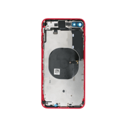 Back Housing w/Volume Keys, Power Button & Brackets installed for use with iPhone 8 Plus (Red)