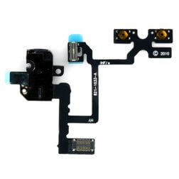 Headphone Jack, Volume and Silent Switch Assembly, Black, GSM for use with iPhone 4