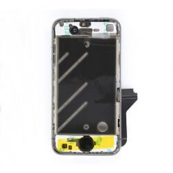 Aluminum bezel with small black parts assembly (New, Pre-assembled) for use with iPhone 4