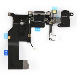 Lightning Dock/Headphone Jack Connector Flex cable, Black, for use with iPhone 5