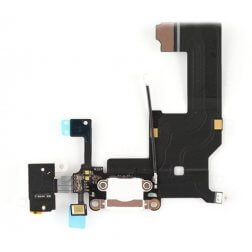 Lightning Dock/Headphone Jack Connector Flex cable, White, for use with iPhone 5