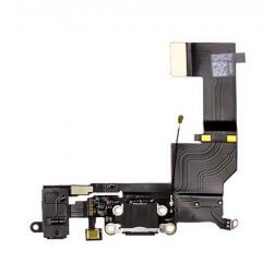 Charge Port/Headphone Jack Flex Cable- Black for use with iPhone 5SE