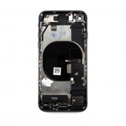 Back cover assembly with small parts for use with iPhone 8 Black (no logo)