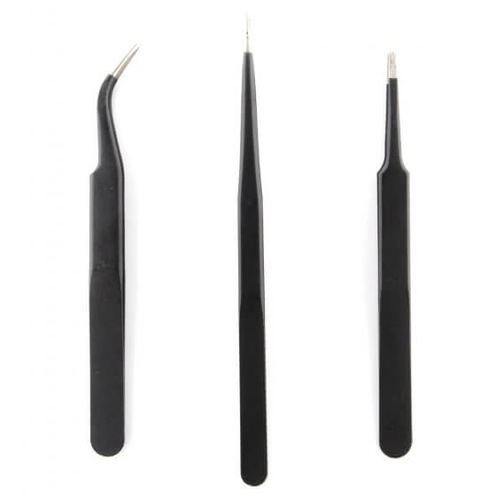 3 Pack of Tweezers found in orange and black tool kit (Pointed, Blunt, Curved)