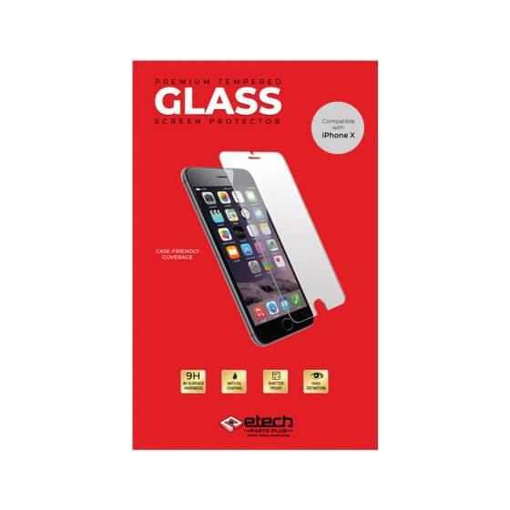 Premium Tempered Glass Screen Protector for use with iPhone X - (eTech Packaging)