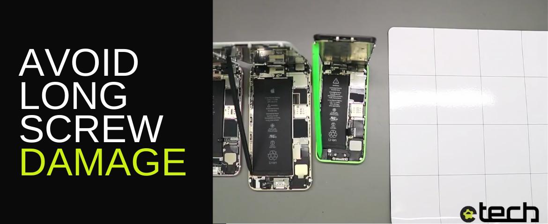 Avoiding iPhone long screw repair damage